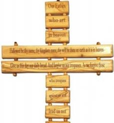 13 inch Olive Wood Our Father Cross